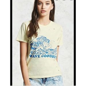 Forever 21 S Wave Goodbye Yellow Distressed TShirt
